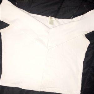 White off the shoulder crop top